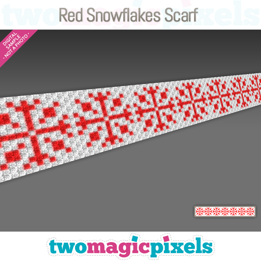 Red Snowflakes Scarf by Two Magic Pixels