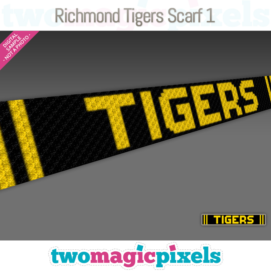 Richmond Tigers Scarf 1 by Two Magic Pixels