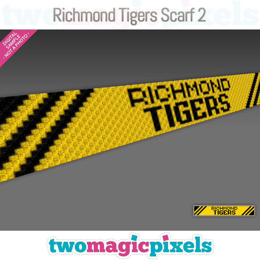 Richmond Tigers Scarf 2 by Two Magic Pixels