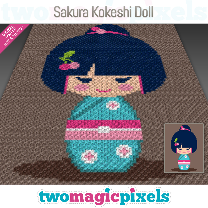 Sakura Kokeshi Doll by Two Magic Pixels