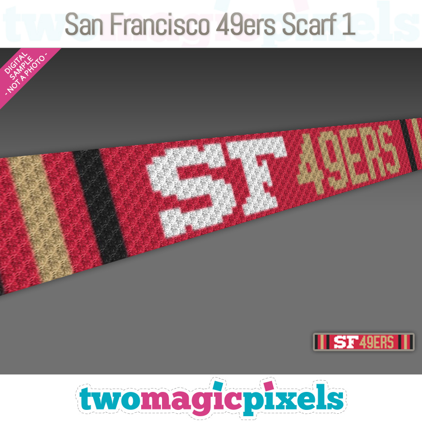 San Francisco 49ers Scarf 1 by Two Magic Pixels
