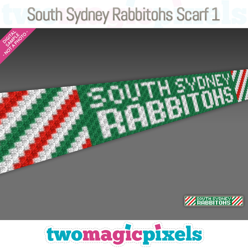 South Sydney Rabbitohs Scarf 1 by Two Magic Pixels