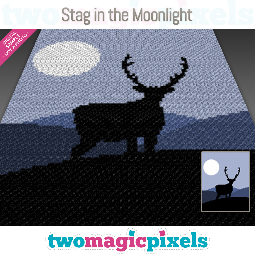 Stag in the Moonlight by Two Magic Pixels