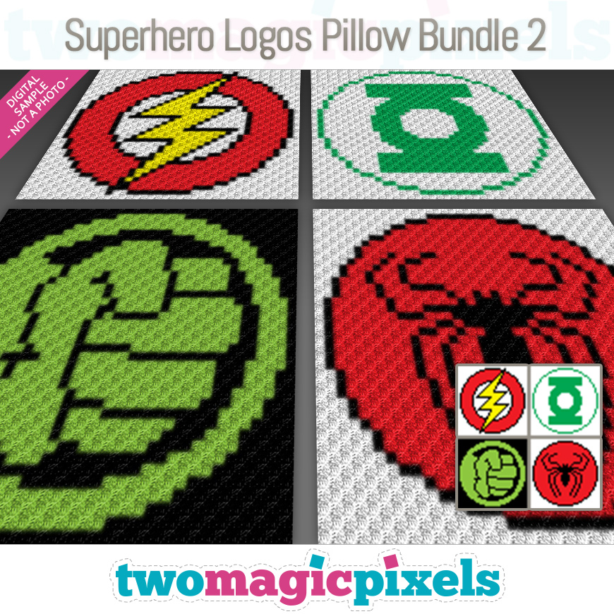Superhero Logos Pillow Bundle 2 by Two Magic Pixels