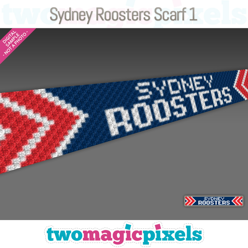 Sydney Roosters Scarf 1 by Two Magic Pixels