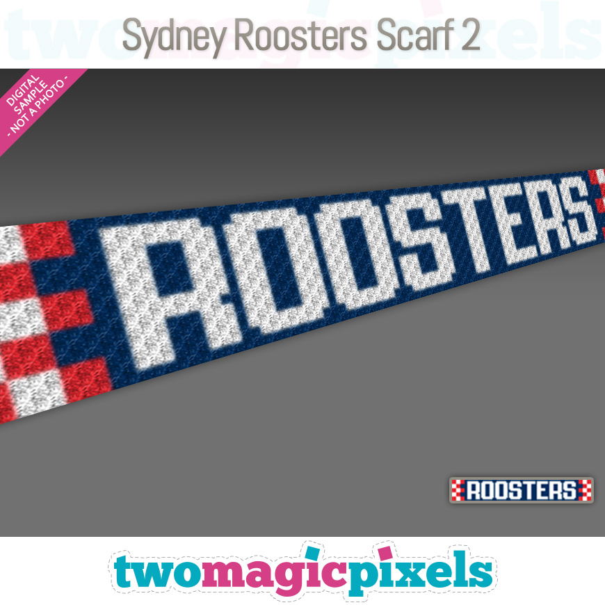 Sydney Roosters Scarf 2 by Two Magic Pixels