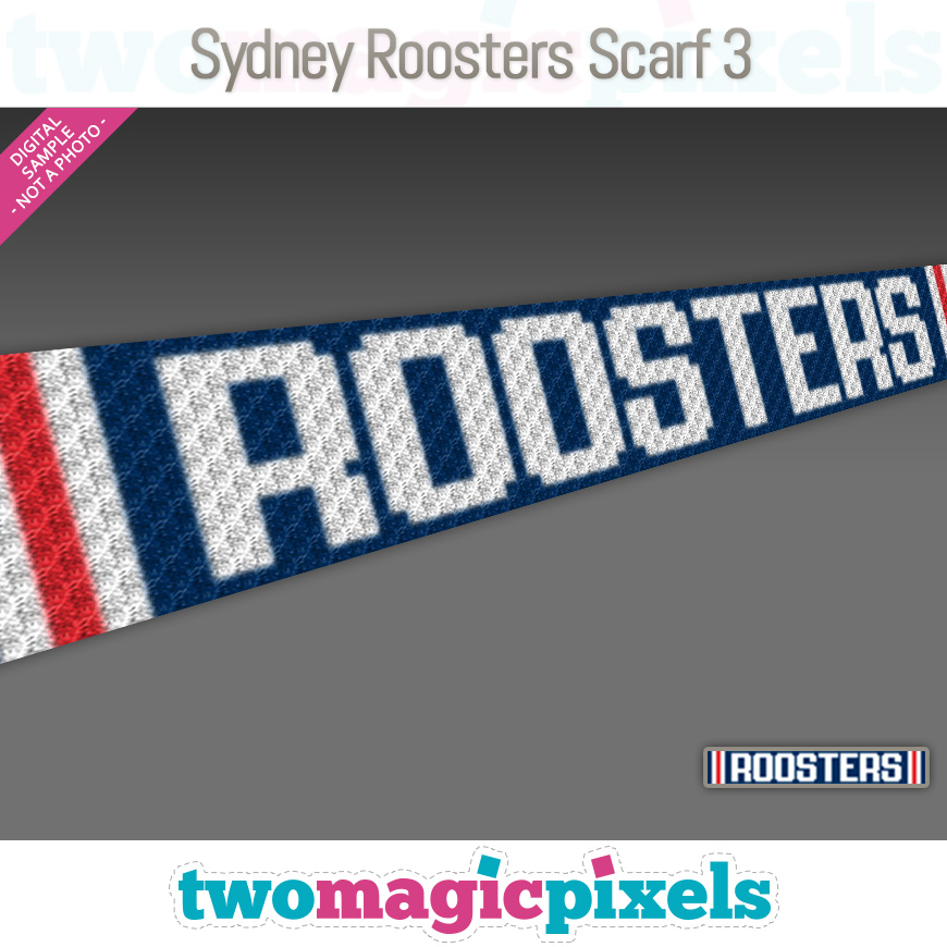 Sydney Roosters Scarf 3 by Two Magic Pixels