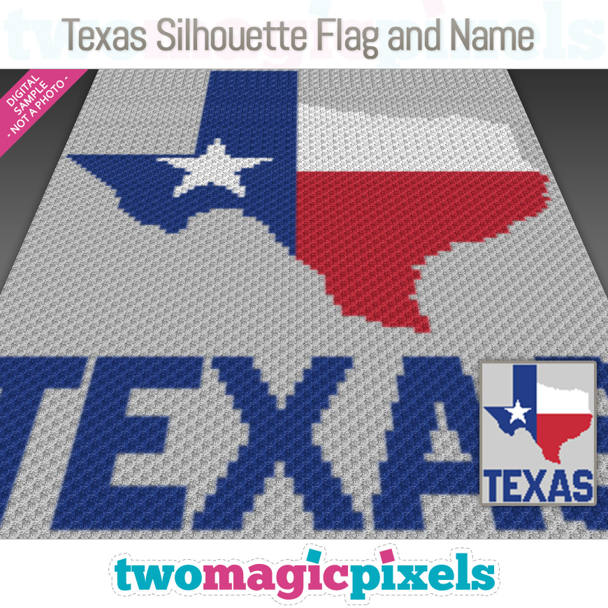 Texas Silhouette Flag and Name by Two Magic Pixels