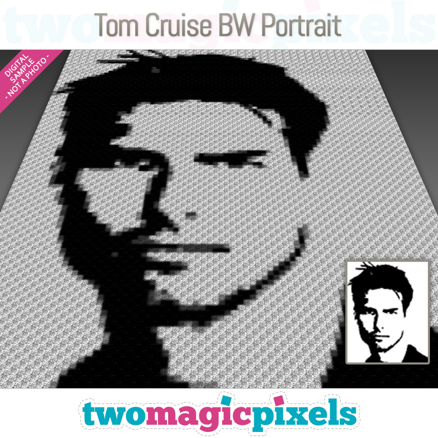 Tom Cruise BW Portrait by Two Magic Pixels