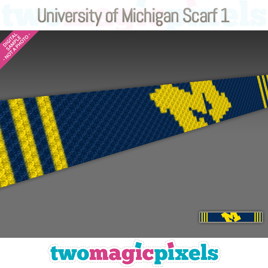 University of Michigan Scarf 1 by Two Magic Pixels